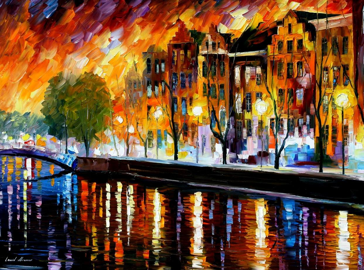 AMSTERDAM - WINTER REFLECTION — oil painting on canvas