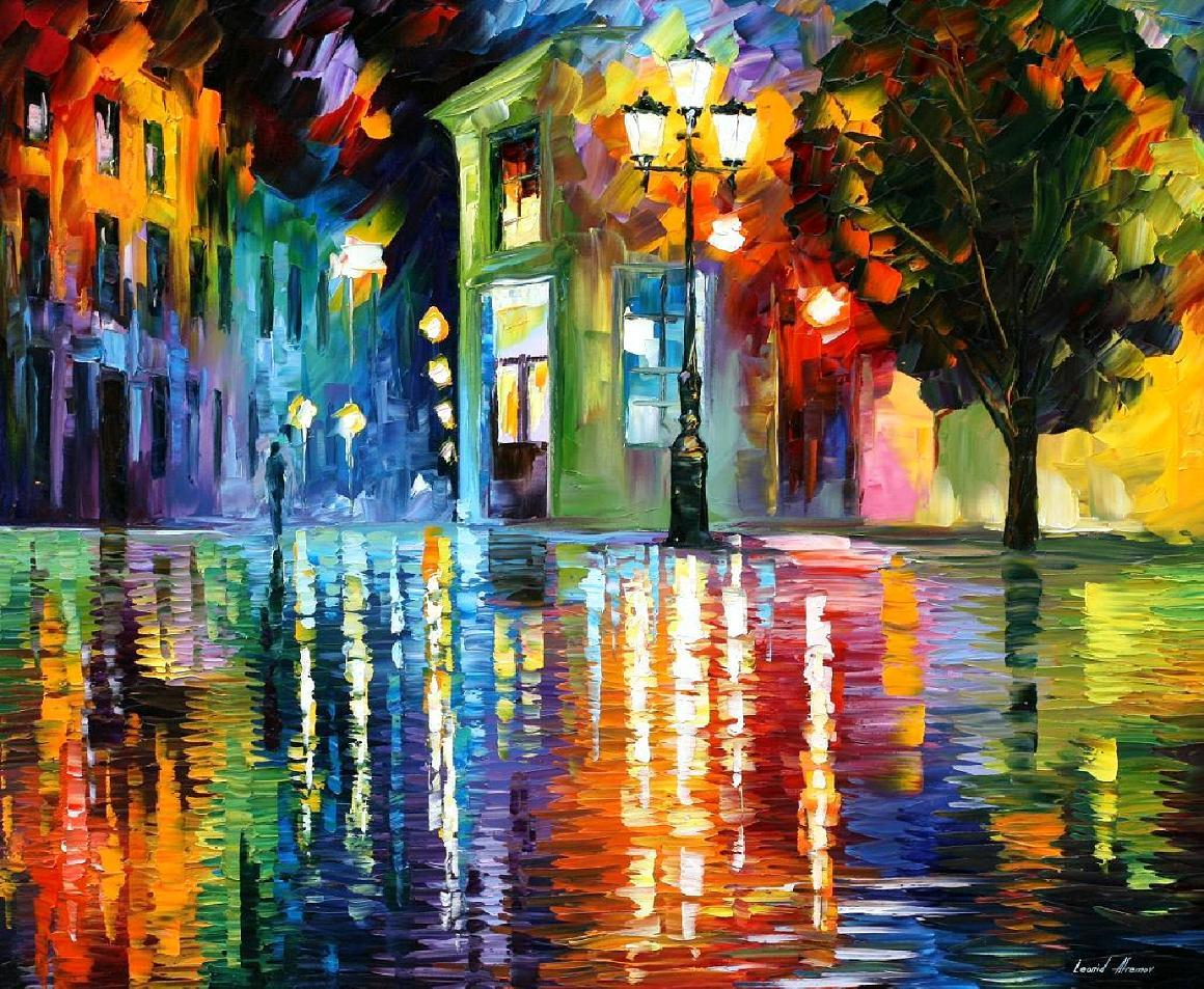 "WONDERFUL NIGHT — PALETTE KNIFE Oil Painting On Canvas By Leonid Afremov - Size 36""x30"""