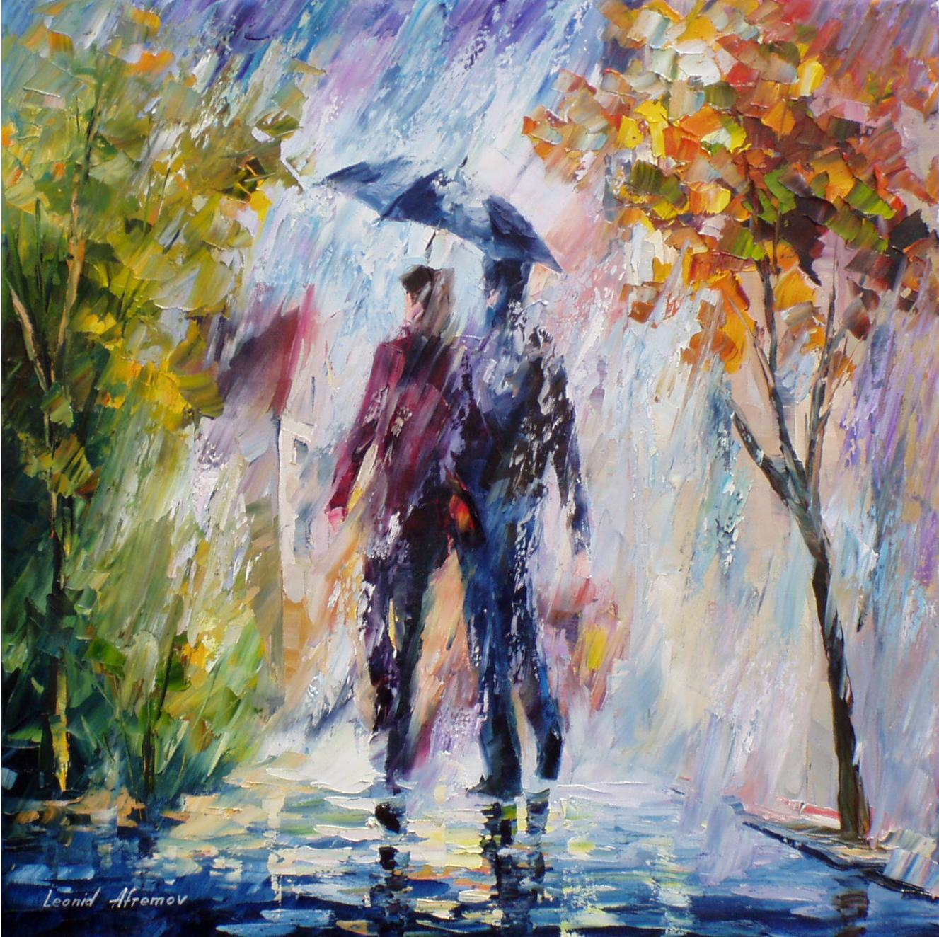 Rainy Weather Palette Knife Oil Painting On Canvas By Leonid Afremov Size 24 W X 24 H