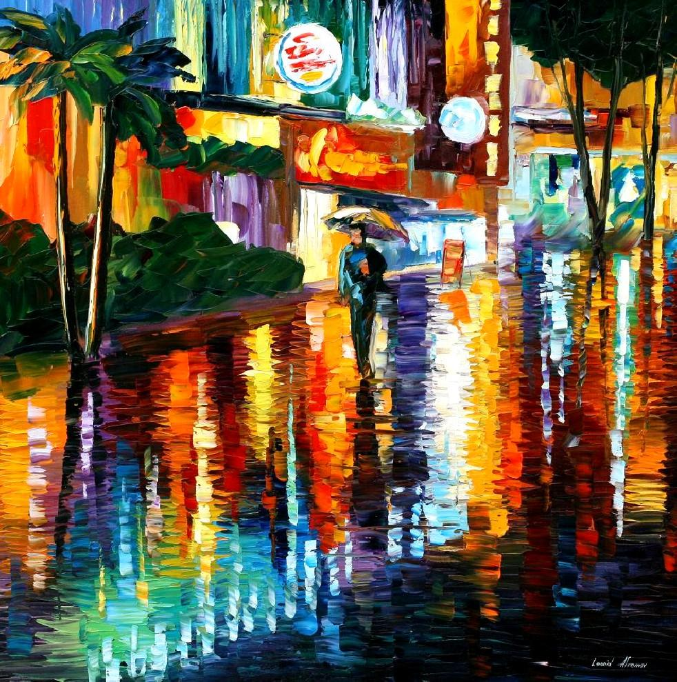 Miami night palette knife oil painting on canvas by for House painting miami