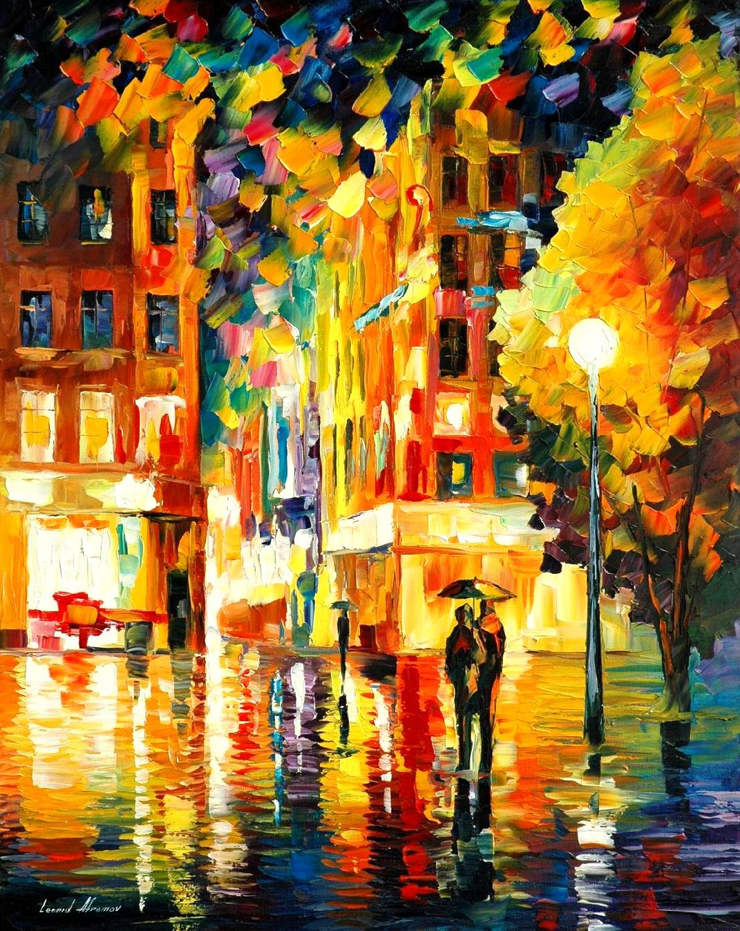NIGHT IN NEW-YORK — PALETTE KNIFE Oil Painting On Canvas By Leonid ...