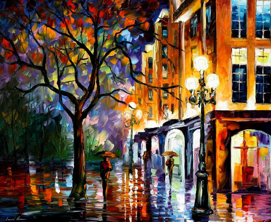 RAIN IN MIAMI PALETTE KNIFE Oil Painting On Canvas By Leonid - Painting miami