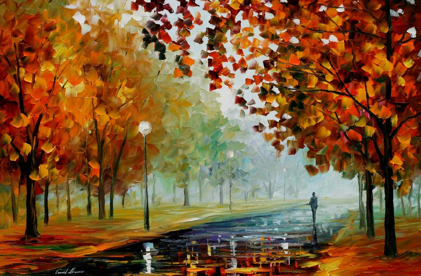 FOGGY AUTUMN — PALETTE KNIFE Oil Painting On Canvas By ...