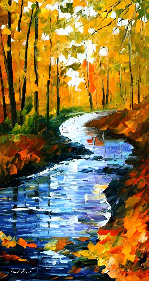 Original Watercolor Painting Autumn at the Stream