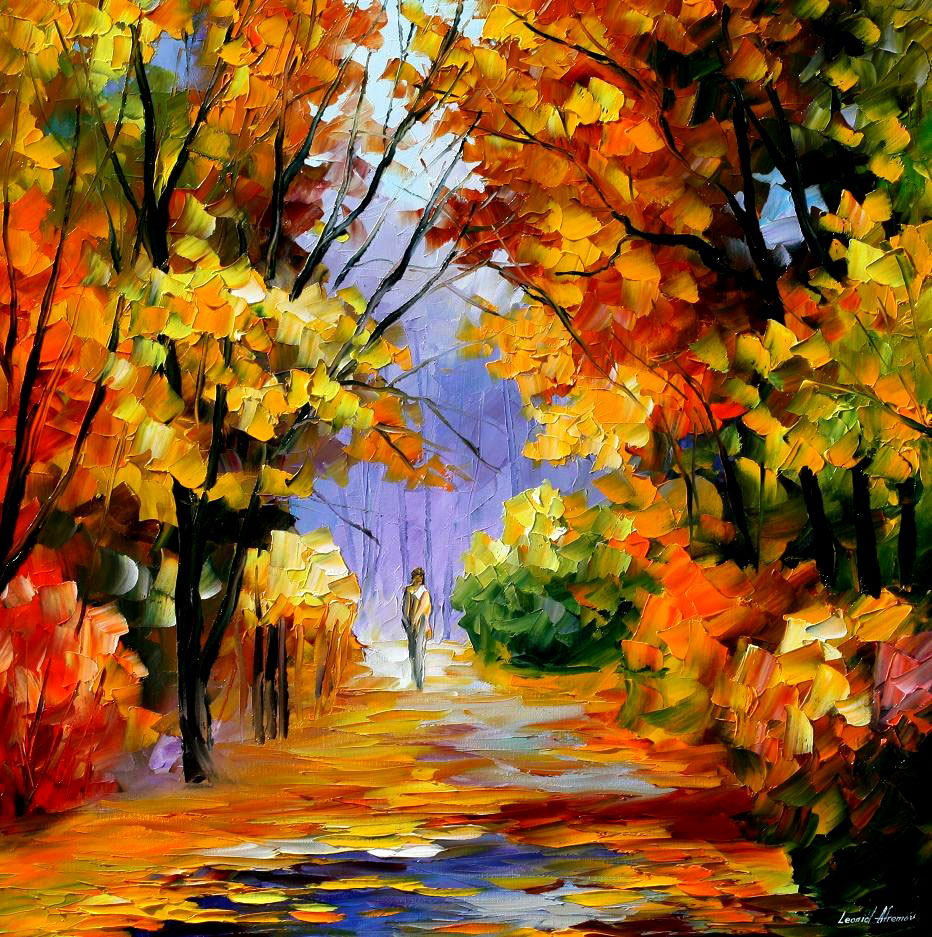 unity with nature palette knife oil painting on canvas by leonid