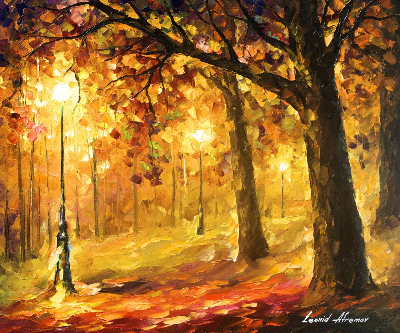 "OLD OAKS - Original Oil Painting On Canvas By Leonid Afremov - 24""X20"""