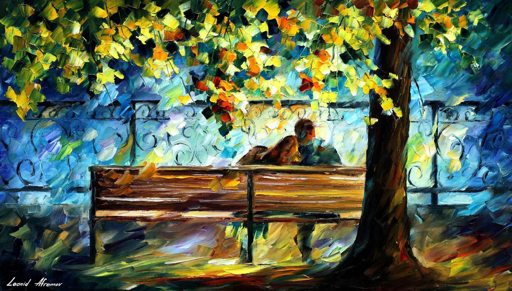 Lovers In The Park Palette Knife Oil Painting On Canvas By Leonid Afremov Size 36 X20