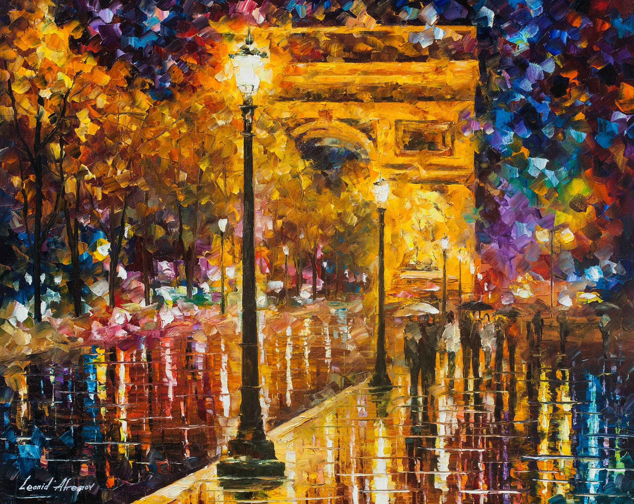 Paris champes elises palette knife oil painting on for What is canvas painting
