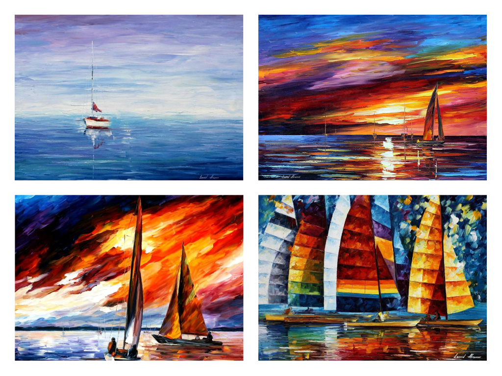 Set Of 4 My Most Favorite Seascape Paintings (CALM BEAUTY, WITH THE WIND, SKY BEAUTY, SEA REGATTA)