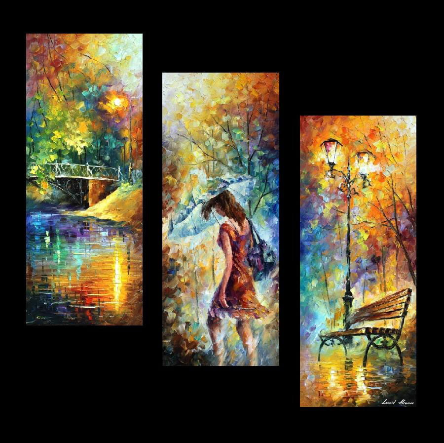 AURA OF AUTUMN SET OF 3 — PALETTE KNIFE Oil Painting On Canvas By Leonid Afremov