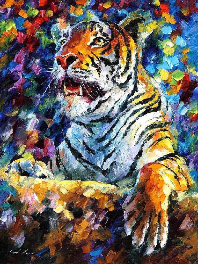 Angry Painter 2016 angry tiger — palette knife oil painting on canvasleonid afremov