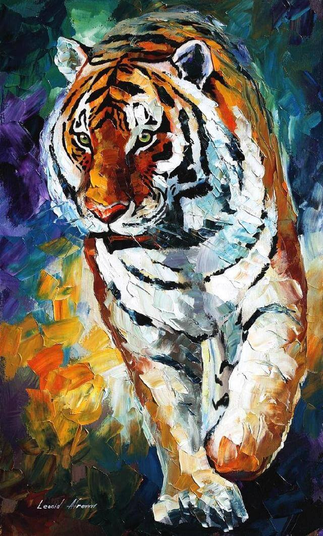 Drawing Lines With Oil Paint : Bengal tiger — palette knife oil painting on canvas by