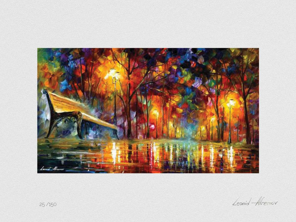 Set of 3 Lithography -  Lost Love, Rain Princess, Beautiful Misty Park