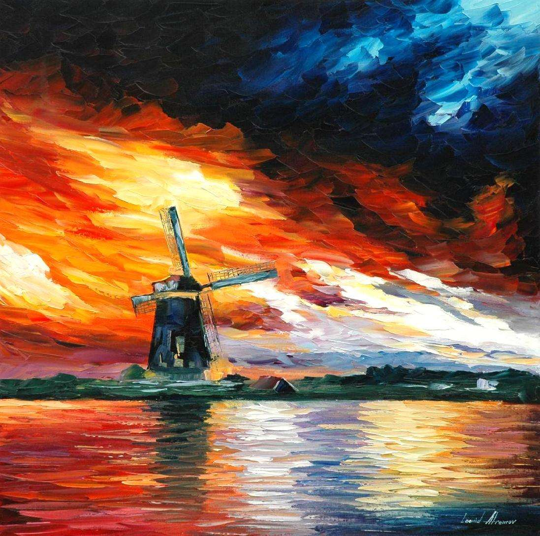 windmill painting