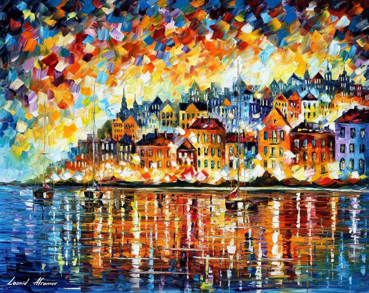 Leonid Afremov, oil on canvas, palette knife, buy original paintings, art, famous artist, biography, official page, online gallery, large artwork, fine, water, boat, seascape, pier, sea, dock, night, calm, yachts, harbor