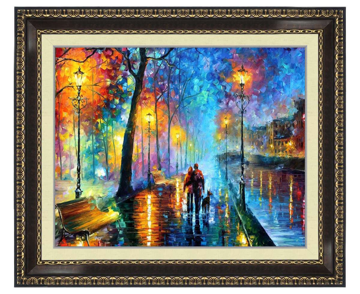 alley by the lake, alley by the lake Leonid Afremov, Leonid Afremov alley by the lake