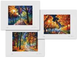 Set of 3 Lithography - Night Alley, Gold Boulevard, Improvisation Of Nature