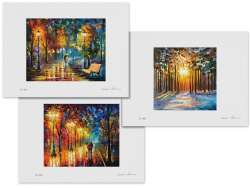 Set of 3 Lithography -  Misty Mood Night, Morning Sun Of January, Night Happiness