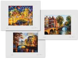 Set of 3 Lithography - Bridge Of Respect, The Gateway To Amsterdam, The River Of My Memories