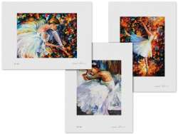 Set of 3 Lithography - Ballerina White Swan, Ballet With Magic, Resting Ballerina