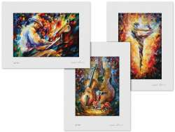 Set of 3 Lithography - Lovely Guitar And Violin, Magical Ballet, Midnight Blues Song