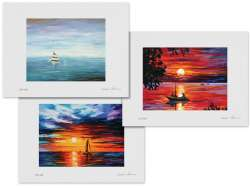 Set of 3 Lithography - Calm Beauty, Evening Touch Of Horizon, Night Fishing