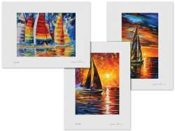 Set of 3 Lithography - Full Speed, Sailing With The Sun, Sea Regatta