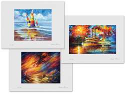 Set of 3 Lithography - Shore Of Colors, Storm That Never Ends, Steamboat
