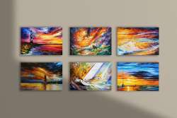 Set of 6 seascape stretched paintings