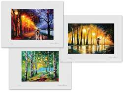 Set of 3 Lithography - Alley By The Lake, Bewitched Park, Birch Grove