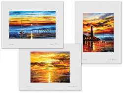 Set of 3 Lithography - Sunrise Over The Sea, Sunset Of Feelings, Sunset By The Lighthouse