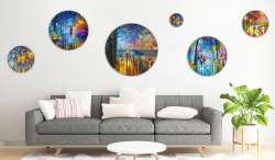 Set of 6 stretched circle paintings