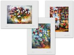 Set of 3 Lithography - In The Garden, Life Full Of Colors, Lilac And Chamomile