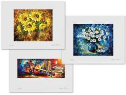 Set of 3 Lithography - Living Sunflowers, Morning Radiance, Music