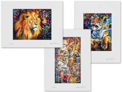 Set of 3 Lithography - Lion, Angry Tiger, Modern Cat Band