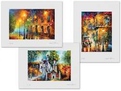 Set of 3 Lithography - Misty City, Memories Of Stories, Neuschwanstein - Magic Castle