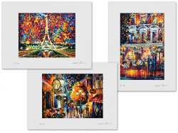 Set of 3 Lithography - Paris Of My Dreams, Romantic Cafe In The Old City, Sherlock Holmes