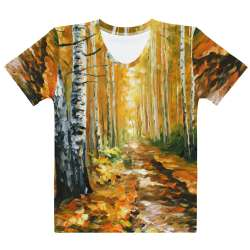 AUTUMN BIRCHES - All-Over Print  Women's Crew Neck-  T-shirt - All sizes