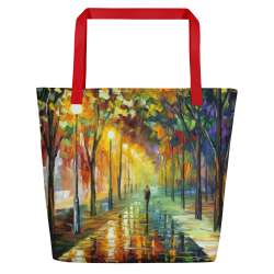 GREEN DREAMS - All-Over Print Large Tote  / Beach Bag w/ Pocket - Red Strap