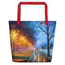 Alley by the lake  - All-Over Print Large Tote  / Beach Bag w/ Pocket - Red Strap
