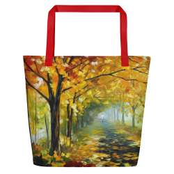 Autumn walk  - All-Over Print Large Tote  / Beach Bag w/ Pocket - Red Strap