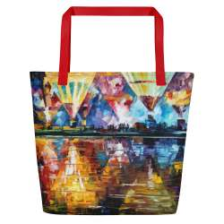 Balloon festival  - All-Over Print Large Tote  / Beach Bag w/ Pocket - Red Strap