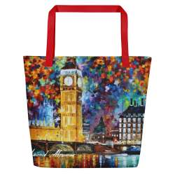 Big Ben - All-Over Print Large Tote  / Beach Bag w/ Pocket - Red Strap