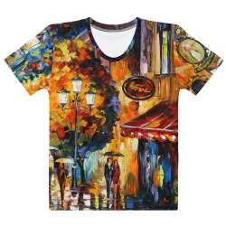 CAFE IN THE OLD CITY  - All-Over Print  Women's Crew Neck-  T-shirt - All sizes