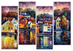 CITY ON RIVER - SET OF 4