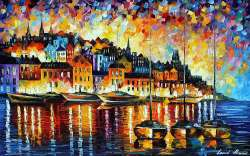 "EVENING HARBOR OF CORSICA 48""x30"" (120cm x 75cm)"