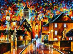 "COLORFUL NIGHT IN THE OLD CITY 48""X36"" (120cm x 90cm)"