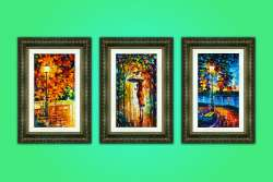 Set of 3 stretched paintings