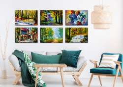 Set of 6 Spring stretched paintings