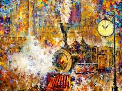 Wall clock painting and Book about Leonid Afremov